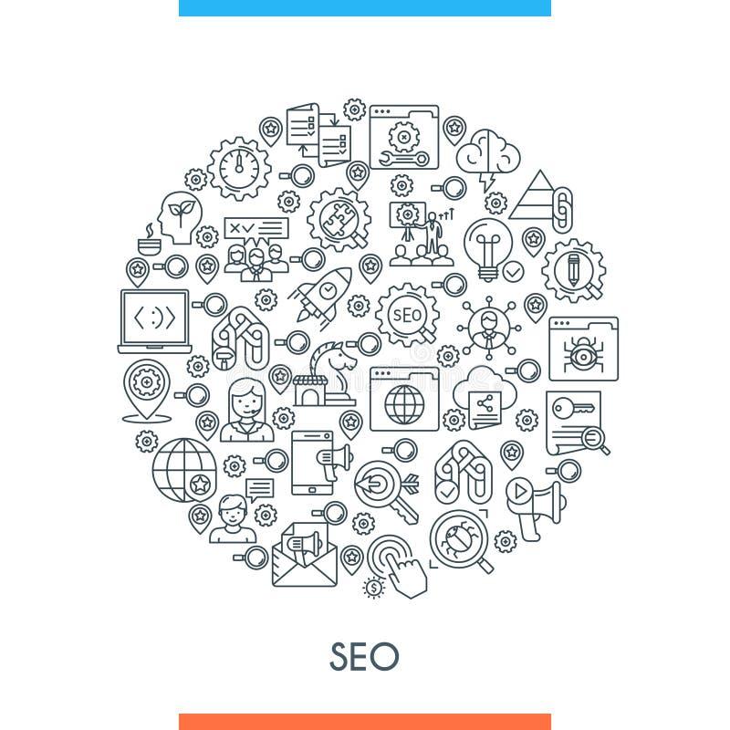 Ligne concept d'icônes de Seo illustration de vecteur
