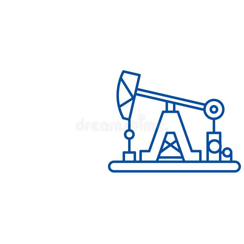 Ligne concept d'industrie pétrolière d'icône Symbole plat de vecteur d'industrie pétrolière, signe, illustration d'ensemble illustration stock