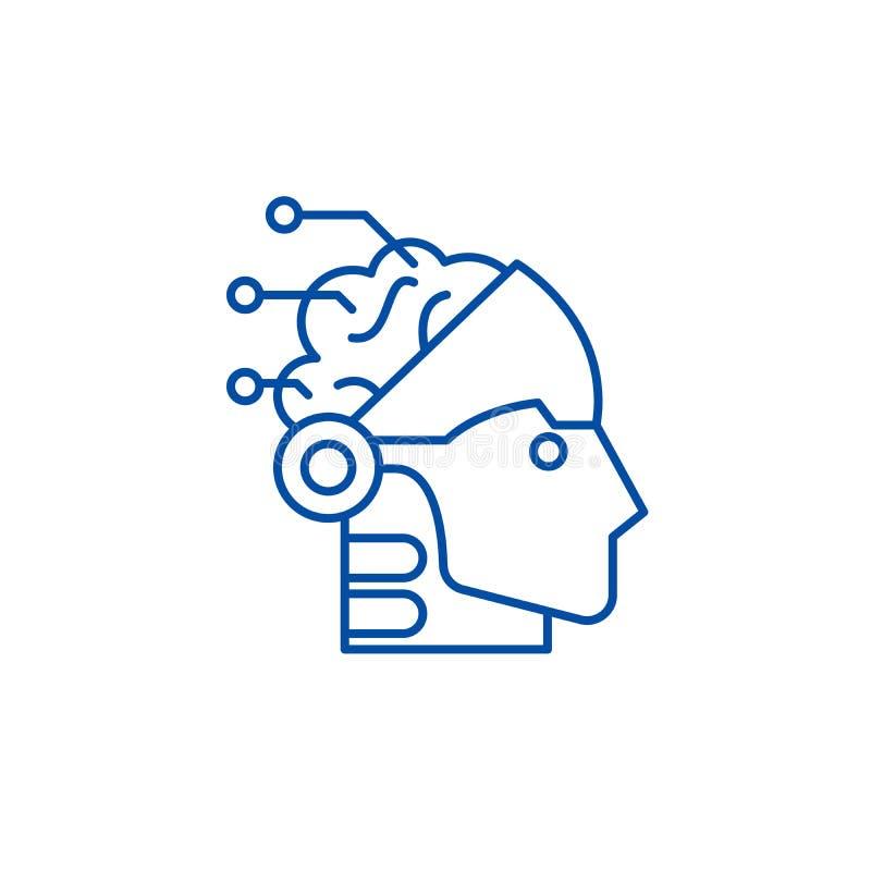 Ligne concept d'intelligence artificielle et de robotique d'icône Symbole plat de vecteur d'intelligence artificielle et de robot illustration libre de droits
