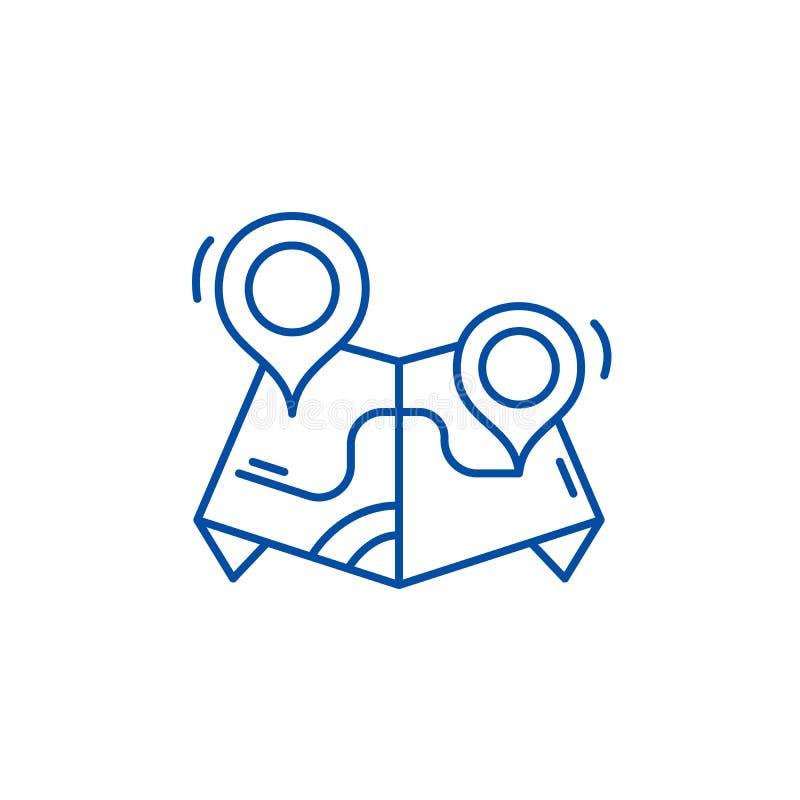 Ligne concept d'itinéraire d'icône Symbole plat de vecteur d'itinéraire, signe, illustration d'ensemble illustration de vecteur