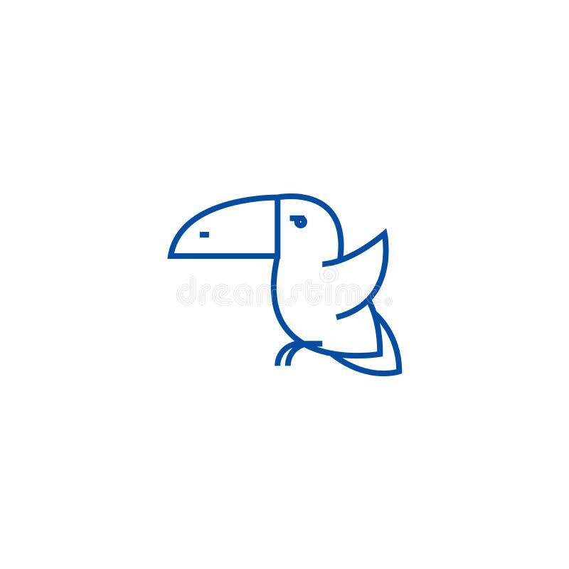 Ligne concept d'oiseau de toucan d'icône Symbole plat de vecteur d'oiseau de toucan, signe, illustration d'ensemble illustration de vecteur