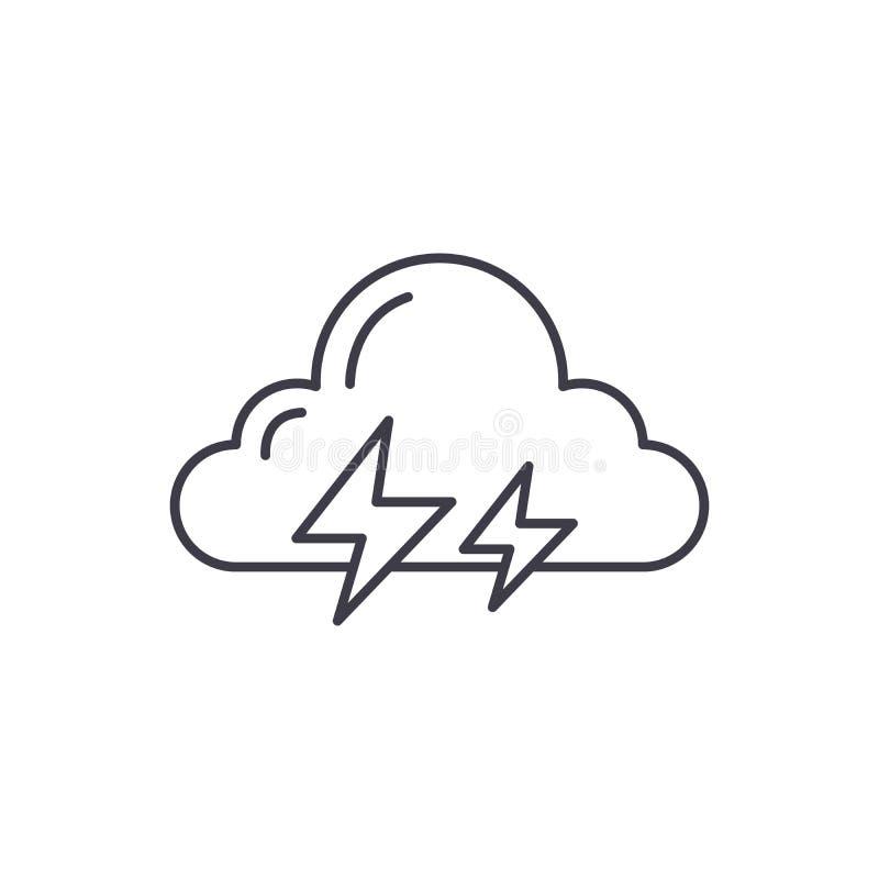 Ligne concept d'orage d'icône Illustration linéaire de vecteur d'orage, symbole, signe illustration stock