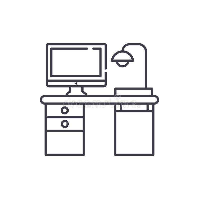 Ligne concept de bureau d'ordinateur d'indépendant d'icône Illustration linéaire de vecteur de bureau d'ordinateur d'indépendant, illustration libre de droits