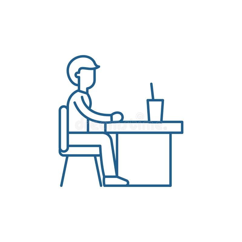 Ligne concept de cantine d'icône Symbole plat de vecteur de cantine, signe, illustration d'ensemble illustration libre de droits