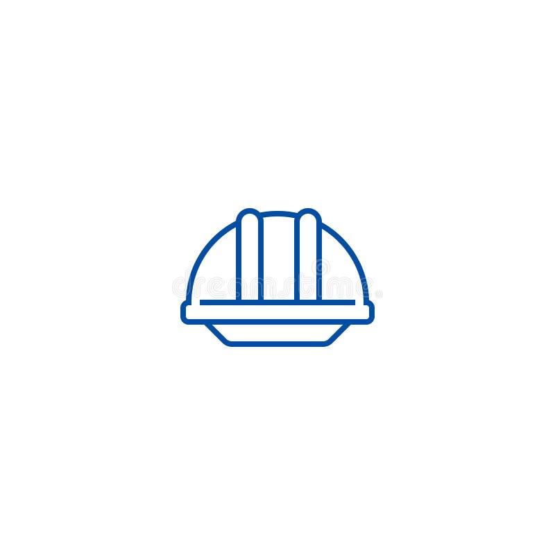 Ligne concept de casque de construction d'icône Symbole plat de vecteur de casque de construction, signe, illustration d'ensemble illustration stock
