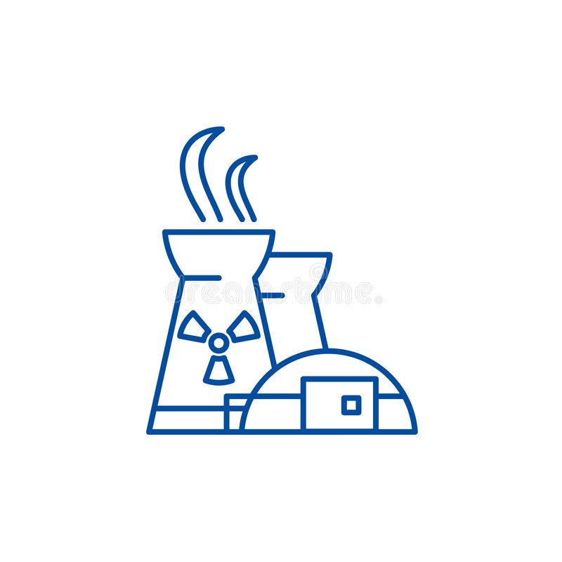 Ligne concept de centrale nucl?aire d'ic?ne Symbole plat de vecteur de centrale nucl?aire, signe, illustration d'ensemble illustration de vecteur