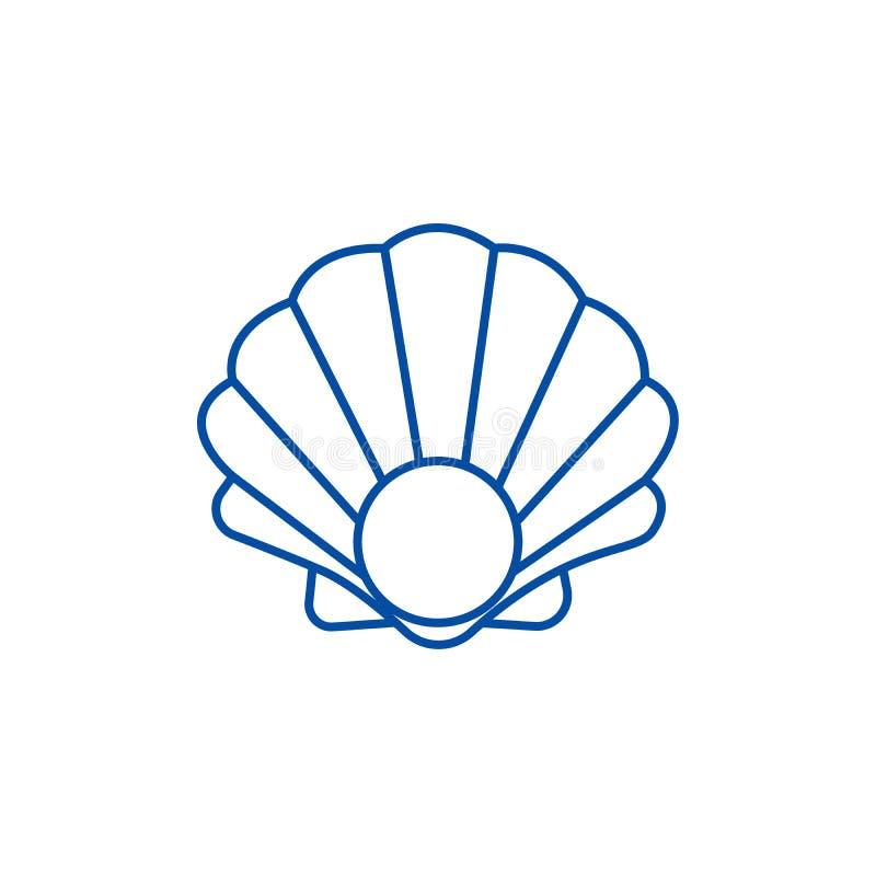 Ligne concept de coquille de perle d'icône Symbole plat de vecteur de coquille de perle, signe, illustration d'ensemble illustration libre de droits