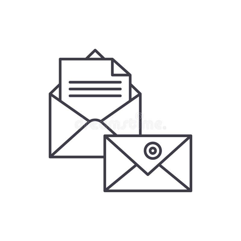 Ligne concept de correspondance d'affaires d'icône Illustration linéaire de vecteur de correspondance d'affaires, symbole, signe illustration stock