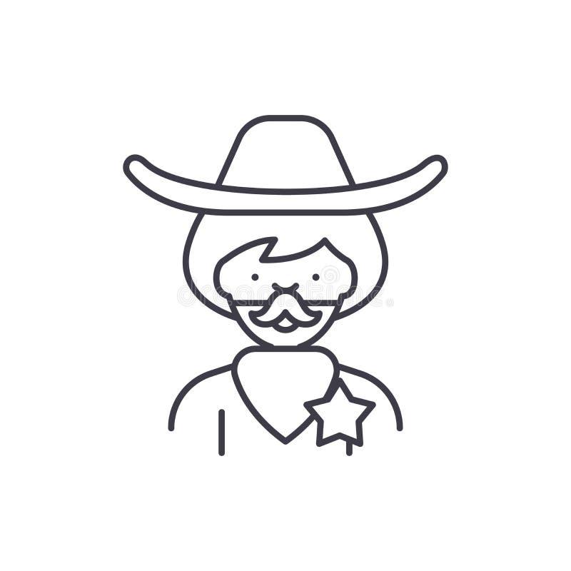 Ligne concept de cowboy d'icône Illustration linéaire de vecteur de cowboy, symbole, signe illustration libre de droits
