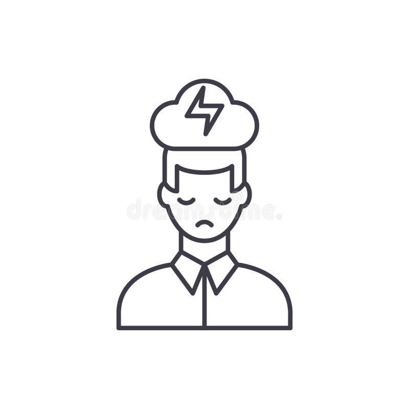Ligne concept de dépression nerveuse d'icône Illustration linéaire de vecteur de dépression nerveuse, symbole, signe illustration stock