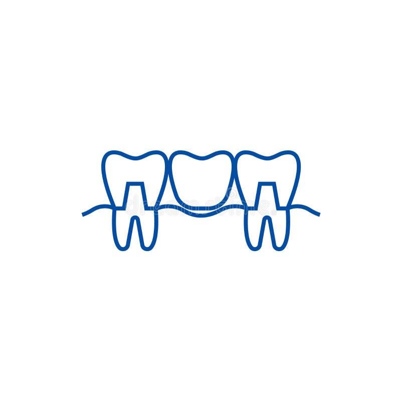 Ligne concept de dentier d'icône Symbole plat de vecteur de dentier, signe, illustration d'ensemble illustration stock