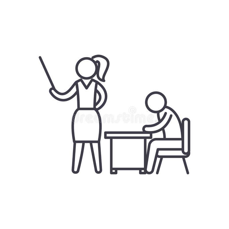 Ligne concept de formation en salle de classe d'icône Illustration linéaire de vecteur de formation en salle de classe, symbole,  illustration libre de droits
