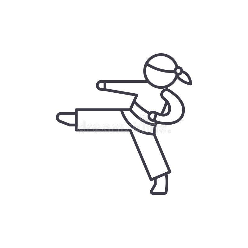 Ligne concept de karaté d'icône Illustration linéaire de vecteur de karaté, symbole, signe illustration stock
