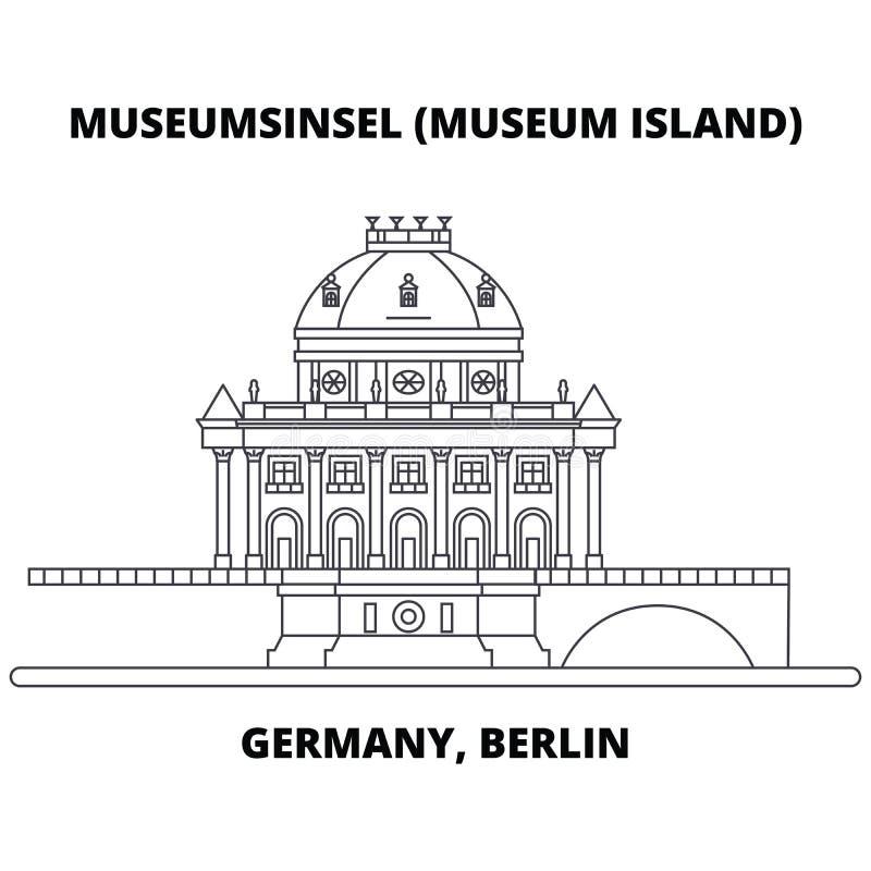 Ligne concept de l'Allemagne, Berlin, île de musée d'icône Signe linéaire de vecteur de l'Allemagne, Berlin, île de musée, symbol illustration de vecteur