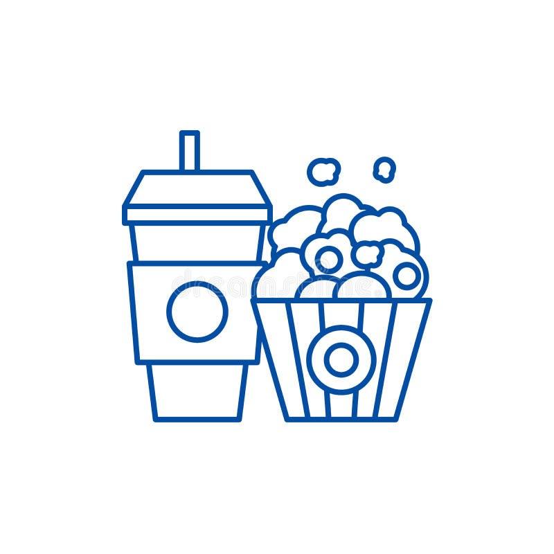 Ligne concept de maïs éclaté et de kola d'icône Symbole plat de vecteur de maïs éclaté et de kola, signe, illustration d'ensemble illustration de vecteur
