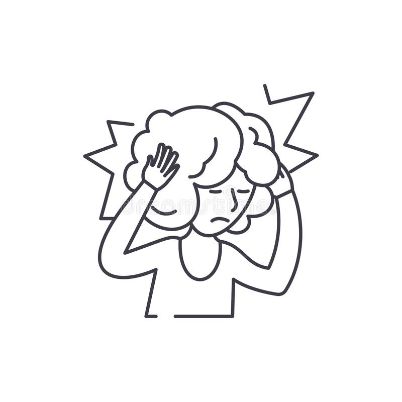 Ligne concept de mal de tête d'icône Illustration linéaire de vecteur de mal de tête, symbole, signe illustration de vecteur