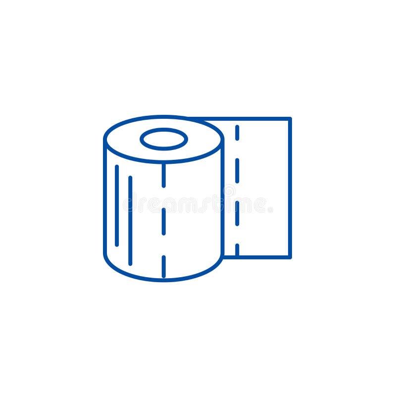 Ligne concept de papier hygiénique d'icône Symbole plat de vecteur de papier hygiénique, signe, illustration d'ensemble illustration stock