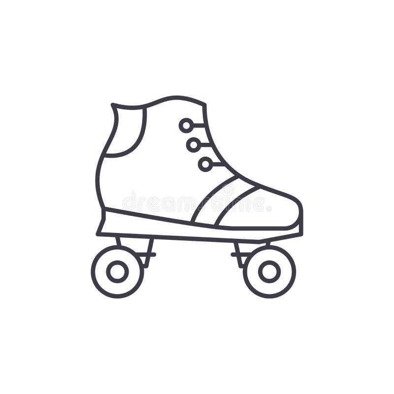 Ligne concept de patins de rouleau d'icône Les raies de rouleau dirigent l'illustration linéaire, symbole, signe illustration libre de droits