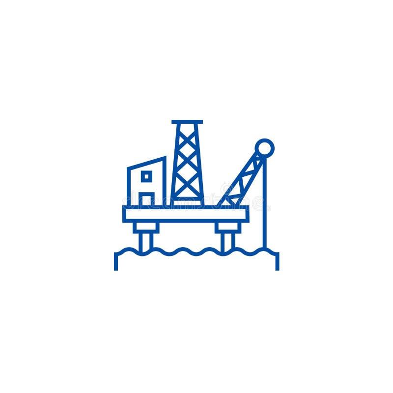 Ligne concept de plateforme pétrolière d'icône Symbole plat de vecteur de plateforme pétrolière, signe, illustration d'ensemble illustration de vecteur