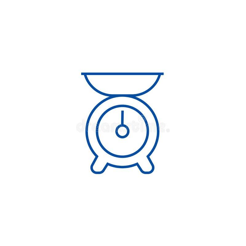 Ligne concept de poids de cuisine d'icône Symbole plat de vecteur de poids de cuisine, signe, illustration d'ensemble illustration de vecteur