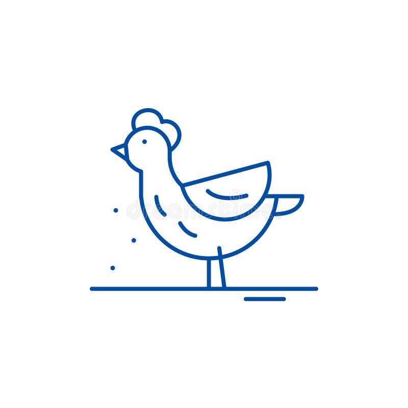 Ligne concept de poule d'icône Symbole plat de vecteur de poule, signe, illustration d'ensemble illustration de vecteur