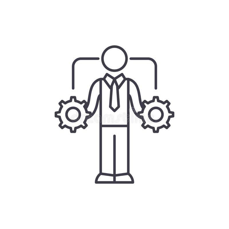 Ligne concept de prise de décision d'affaires d'icône Illustration linéaire de vecteur de prise de décision d'affaires, symbole,  illustration stock