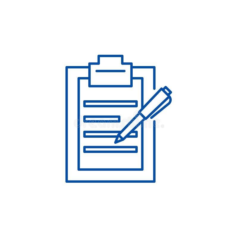 Ligne concept de rédaction de rapports d'icône Symbole plat de vecteur de rédaction de rapports, signe, illustration d'ensemble illustration stock
