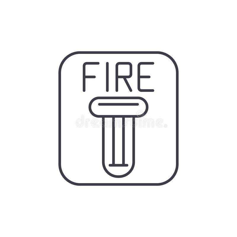 Ligne concept de sécurité incendie d'icône Illustration linéaire de vecteur de sécurité incendie, symbole, signe illustration de vecteur