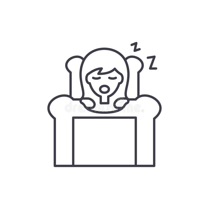 Ligne concept de sommeil profond d'icône Illustration linéaire de vecteur de sommeil profond, symbole, signe illustration stock