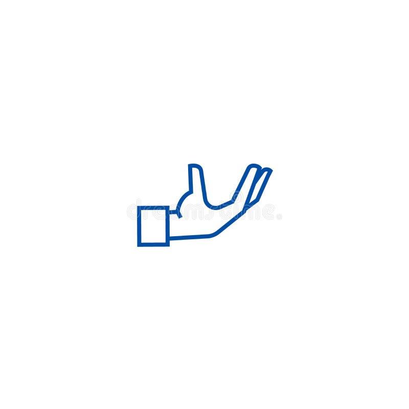 Ligne concept de soutien de main de service d'icône Symbole plat de vecteur de soutien de main de service, signe, illustration d' illustration stock