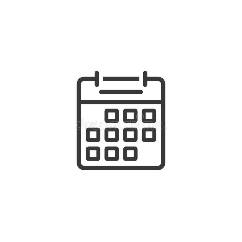 Ligne conception d'icône de calendrier de vecteur d'ensemble d'isolement sur le clipart blanc et noir et blanc de symbole d'alman illustration libre de droits