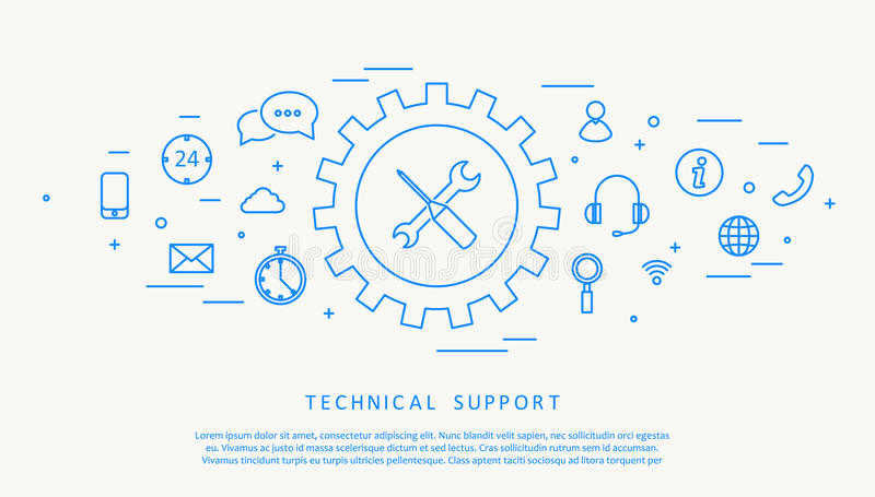 Ligne conception de thine de support technique illustration stock