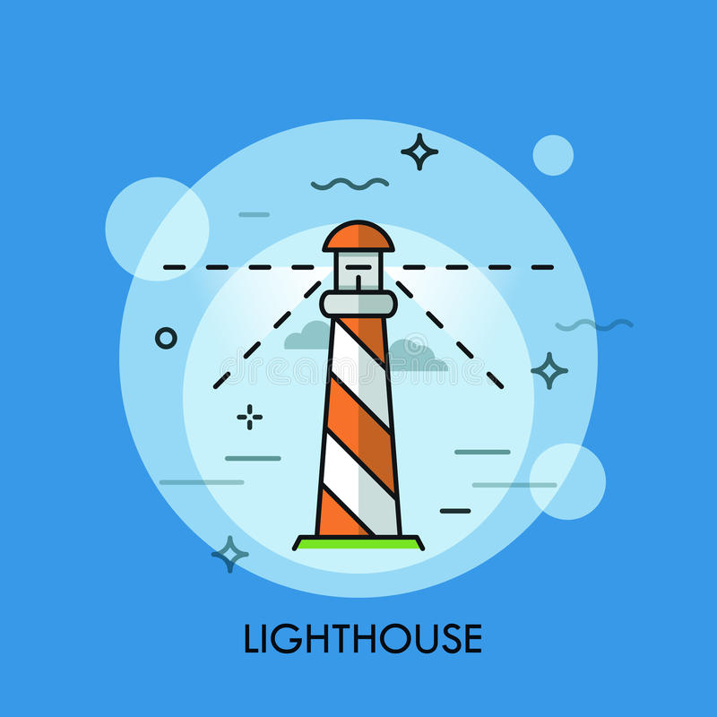 Ligne conception plate de logo d'icône de phare Illustration de vecteur illustration stock