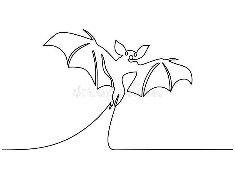 Ligne continue aspiration de silhouette de batte de Halloween une illustration libre de droits