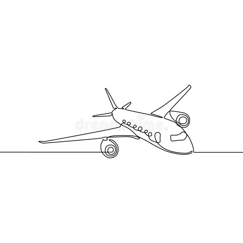 Ligne continue avion, concept de voyage et de tourisme illustration stock