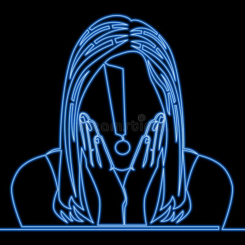Ligne continue concept au néon étonné de femme illustration de vecteur
