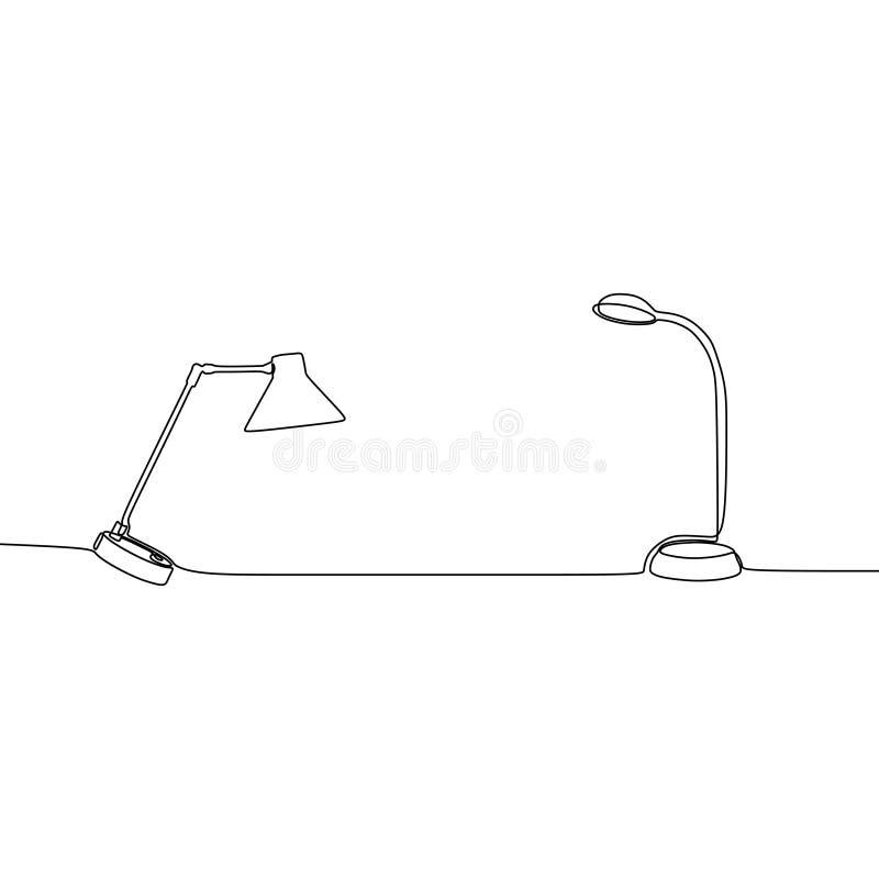 ligne continue de lampe de table et de lampe universelle de réverbère à employer pour le Web et le mobile, ensemble de vecteur d' illustration stock