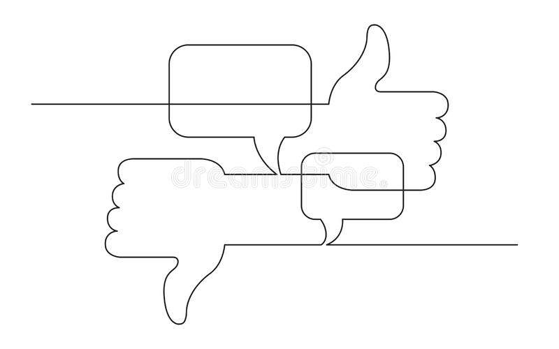 Ligne continue dessin de croquis de concept des médias sociaux comme, d'aversion et des symboles d'avis illustration libre de droits