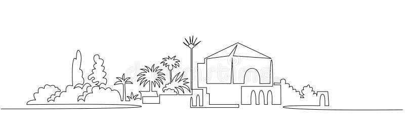 Ligne continue dessin de paysage urbain une de vecteur Jardin de Menara illustration libre de droits