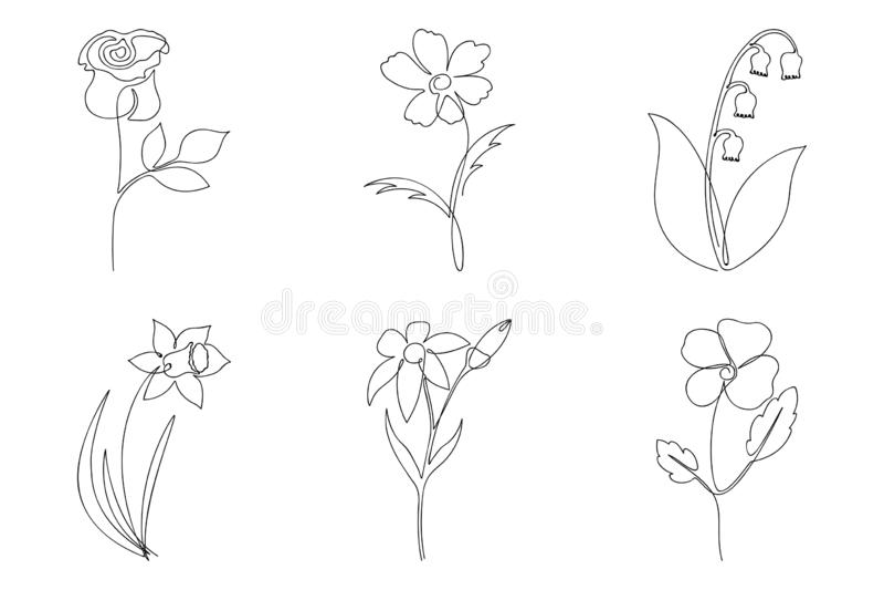 Ligne continue ensemble de fleur Un dessin au trait de différentes fleurs Illustration minimaliste tir?e par la main illustration stock