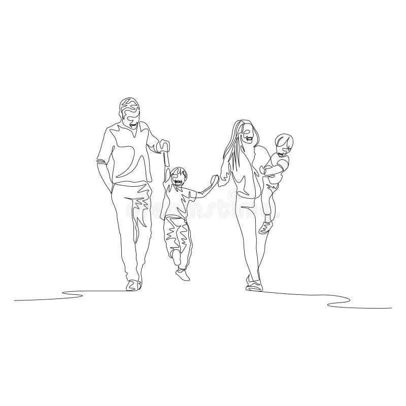Ligne continue famille marchant tenant les mains et swigning le fils illustration de vecteur