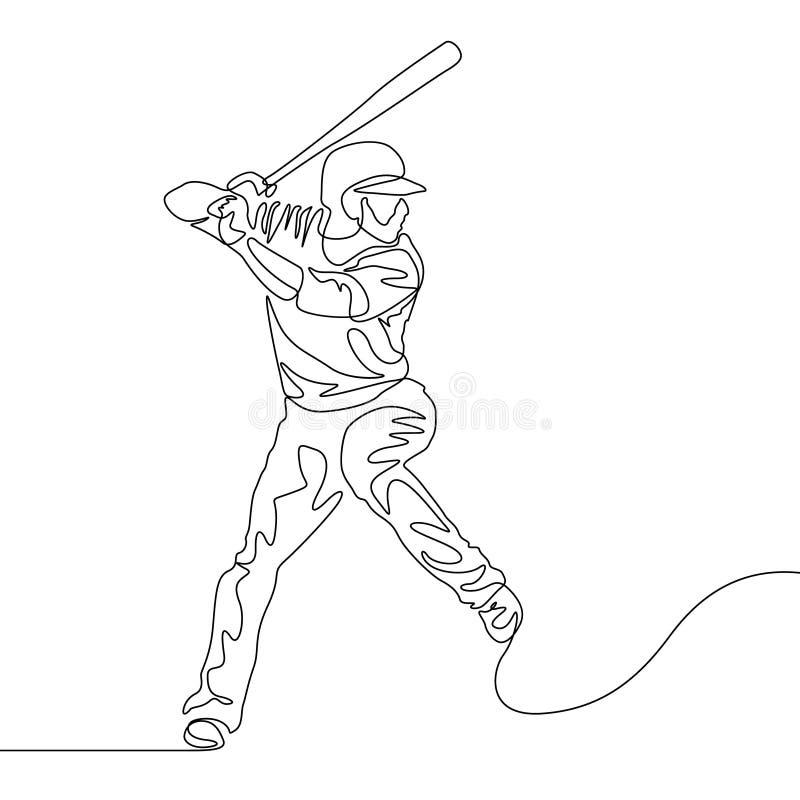 Ligne continue pâte lisse de joueur de baseball allant frapper la boule illustration stock