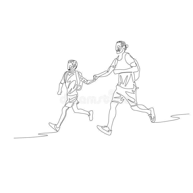 Ligne continue père et fils courant tenir ensemble les mains illustration de vecteur