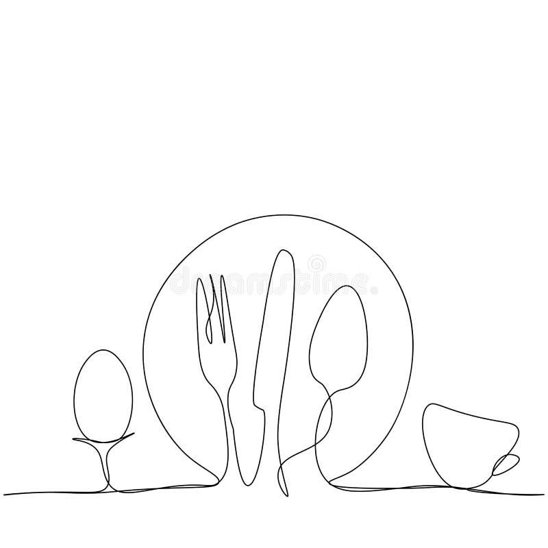 Ligne continue plat, couteau, fourchette, cuillère et tasse illustration libre de droits