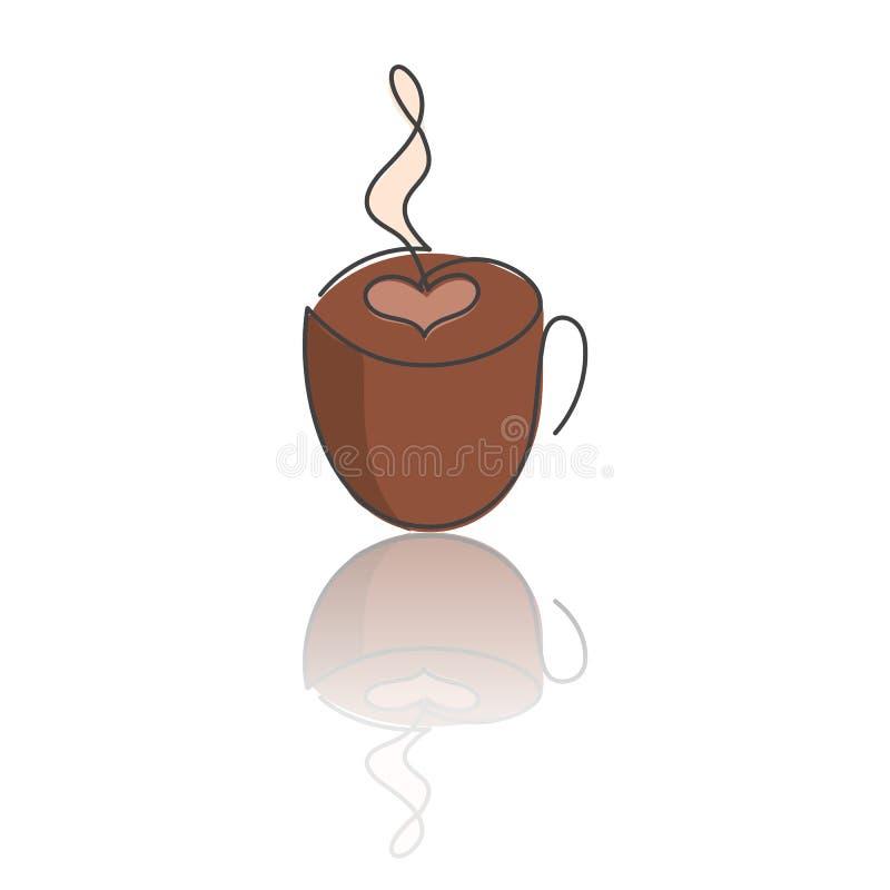 Ligne continue tasse de boisson chaude avec la vapeur, décoration sous la forme de coeur et réflexion illustration stock