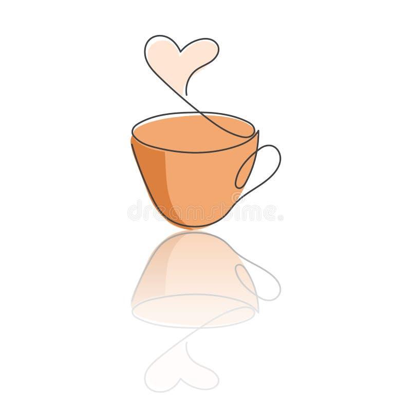 Ligne continue tasse de boisson chaude avec la vapeur sous la forme de coeur, colorée dans le brun, et réflexion illustration de vecteur