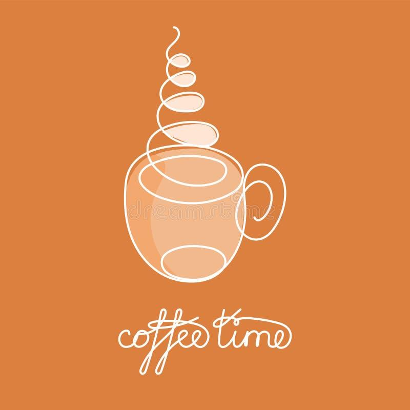 Ligne continue tasse de thé ou de café chaud avec la vapeur et la décoration brune illustration libre de droits