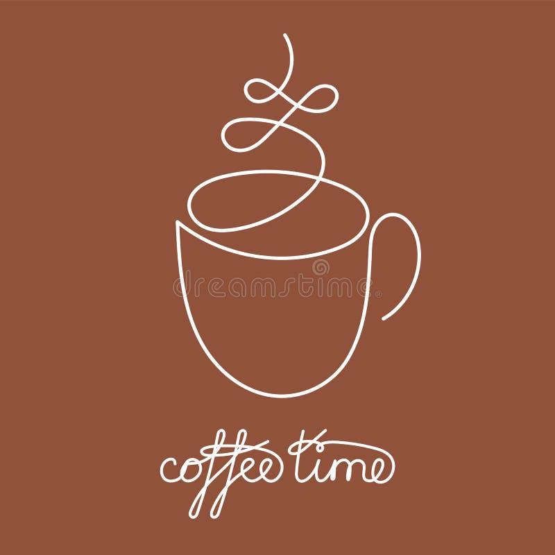 Ligne continue tasse de thé ou de café chaud avec la vapeur et la décoration brune illustration de vecteur