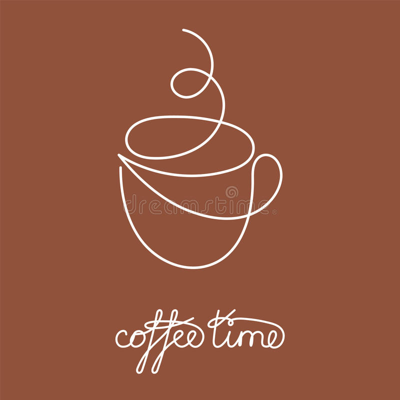 Ligne continue tasse de thé ou de café chaud avec la vapeur et la décoration brune illustration stock