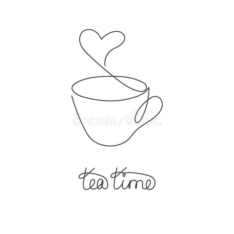 Ligne continue tasse de thé ou de café chaud avec la vapeur sous la forme de coeur illustration de vecteur